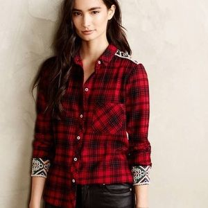 Anthropologie Patched Plaid Button down